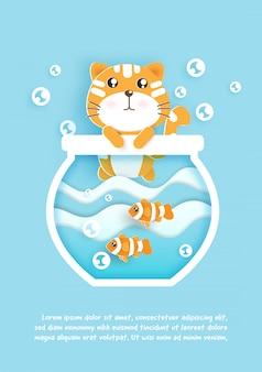 Eine niedliche katze mit fischen in einer schüssel für geburtstagsgrußkarte. papierschnitt und bastelstil.