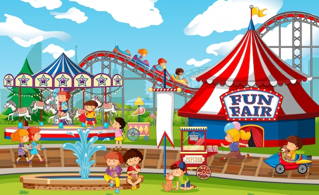 Eine outdoor-funfair-szene