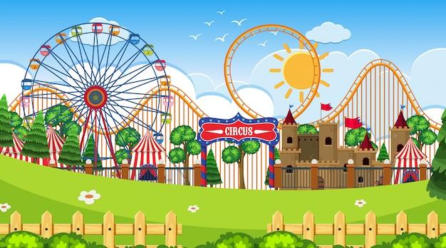 Eine outdoor-szene mit zirkus