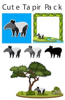 Eine packung süßer tapir