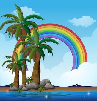 Eine paradies-insel und regenbogen