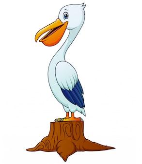 Eine pelikanvogelkarikatur, die auf baumstumpf steht