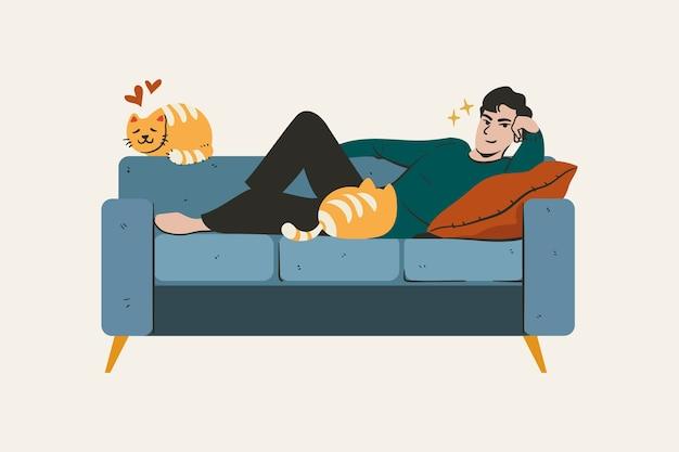 Eine person, die sich zu hause auf einer couch entspannt