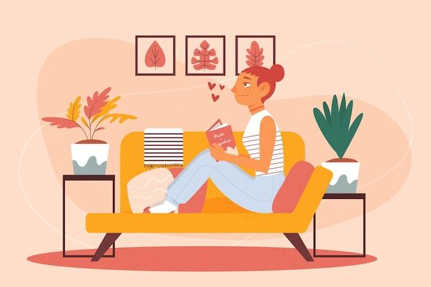 Eine person, die sich zu hause entspannt