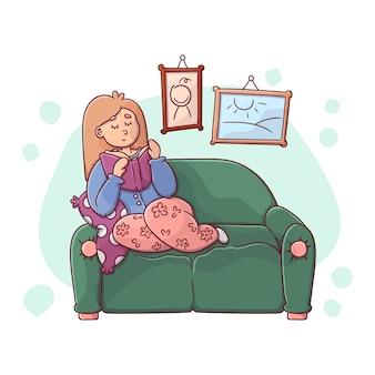 Eine person, die sich zu hause illustration entspannt