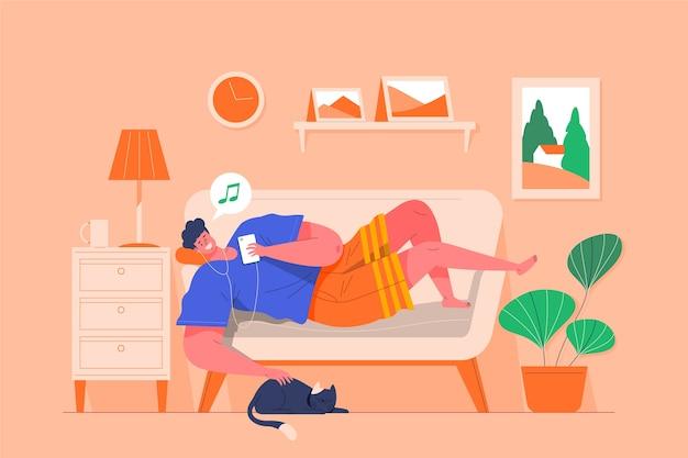 Eine person, die sich zu hause konzept entspannt
