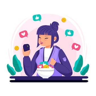 Eine person, die süchtig nach social media ist