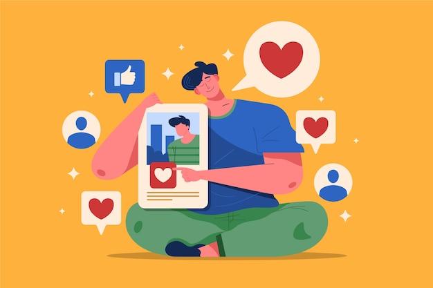 Eine person, die süchtig nach social media-konzept ist