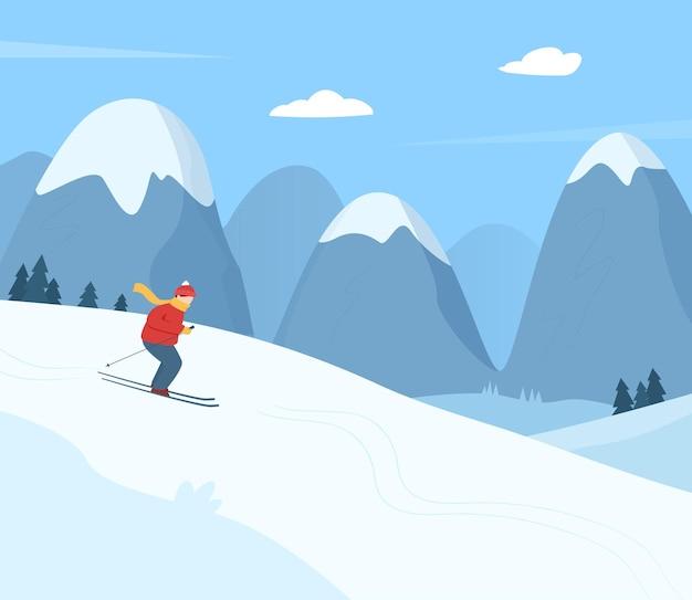 Eine person fährt am wintertag in den bergen ski. flache karikaturillustration der winteraktivität.