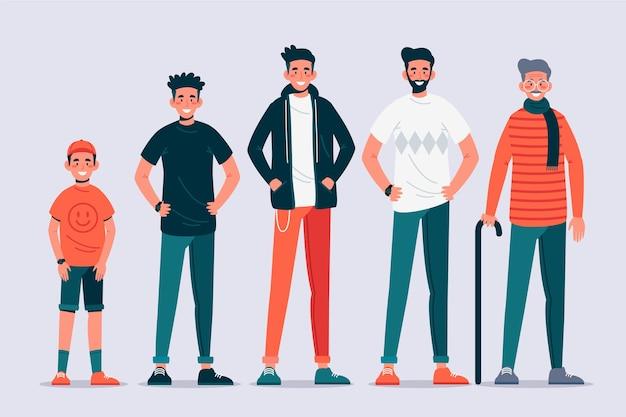 Eine person in verschiedenen altersgruppen design
