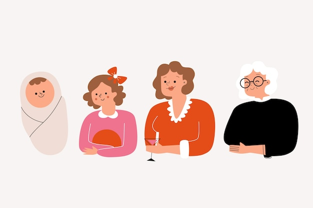Eine person in verschiedenen altersstufen