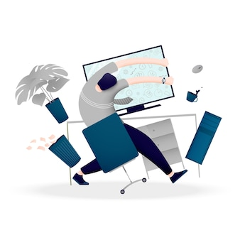 Eine person ist mit vielen informationen und daten überfordert. das konzept des nervenzusammenbruchs bei der arbeit am computer.