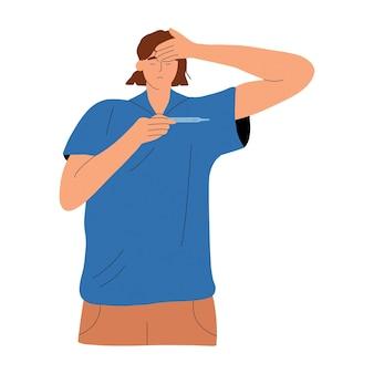 Eine person misst die körpertemperatur mit einem thermometer