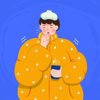 Eine person mit einem kalten konzept