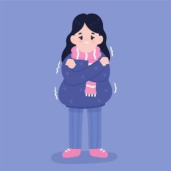 Eine person mit einem kalten zittern