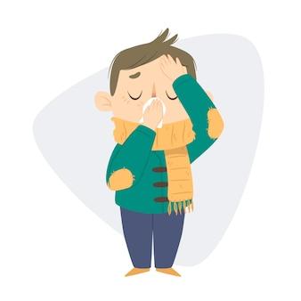 Eine person mit einer erkältung, bei der kopfschmerzen auftreten