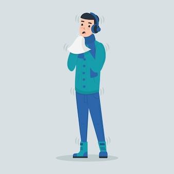 Eine person mit einer kalten illustration