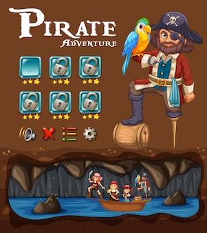 Eine piraten-abenteuer-spiel-schablone