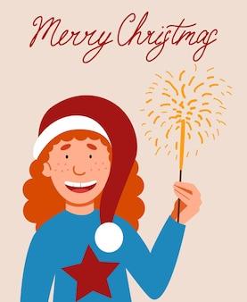 Eine postkarte mit einem lockigen rothaarigen mädchen in einer weihnachtsmannmütze, das eine wunderkerze in der hand hält