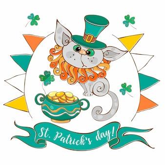 Eine postkarte mit einer katze und münzen für den st. patrick's day.