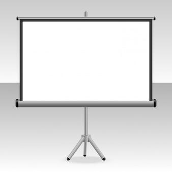 Eine projizierte leinwand mit einem stativ für ihre präsentationen