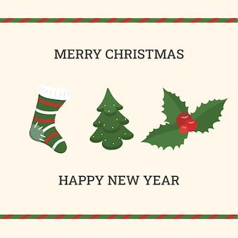 Eine quadratische weihnachtskarte mit einem weihnachtsbaum, einer socke und einem stechpalmenzweig. vektor-illustration.