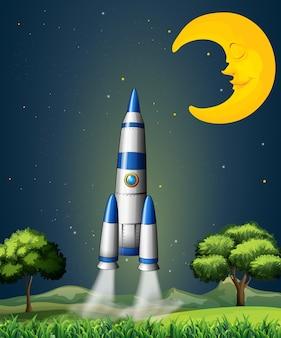Eine rakete, die mit einem schlafenden mond in den himmel geht