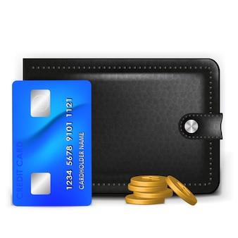 Eine realistische geldbörse mit einer zahlungskarte und münzen