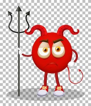 Eine red devil-cartoon-figur mit gesichtsausdruck auf transparentem hintergrund