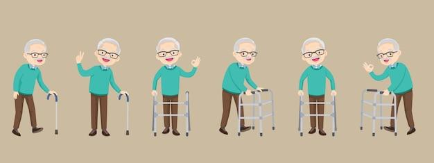 Eine reihe älterer behinderter und medizinischer gehhilfen unterstützen alte großeltern im ruhestand
