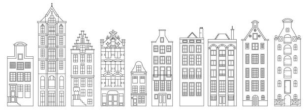 Eine reihe alter europäischer umrisshäuser. architektur der niederlande.