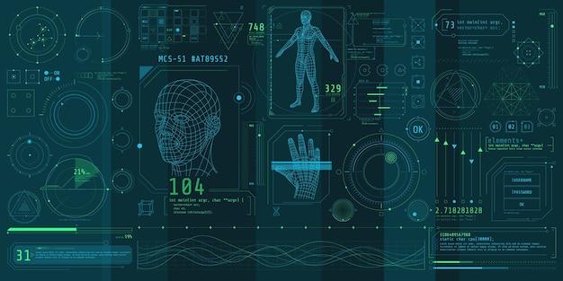 Eine reihe dünner elemente zum thema bio-scannen.
