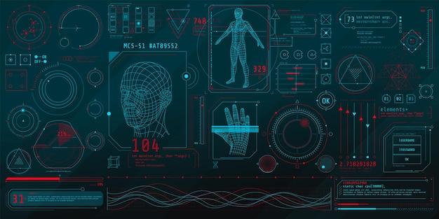 Eine reihe dünner elemente zum thema bio-scannen Premium Vektoren