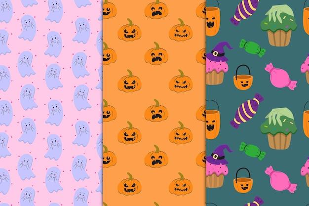 Eine reihe nahtloser muster mit einem halloween-thema