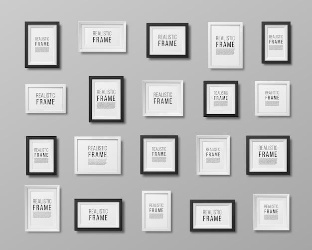 Eine reihe realistischer bilderrahmen leerer platz für bilderkarten oder fotos