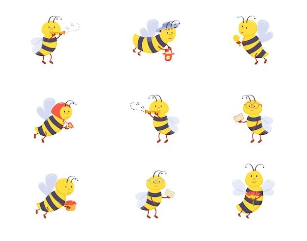 Eine reihe süßer babybienen mit im cartoon-stil gezeichneten maulkörben