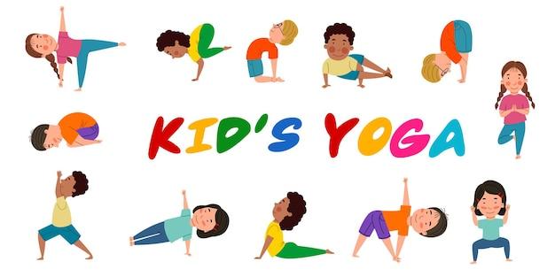 Eine reihe süßer mädchen und jungen verschiedener nationalitäten, die sich mit yoga beschäftigen.