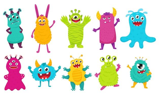 Eine reihe süßer monster. helle zeichentrickfiguren. vektorillustration für kinder. flacher stil