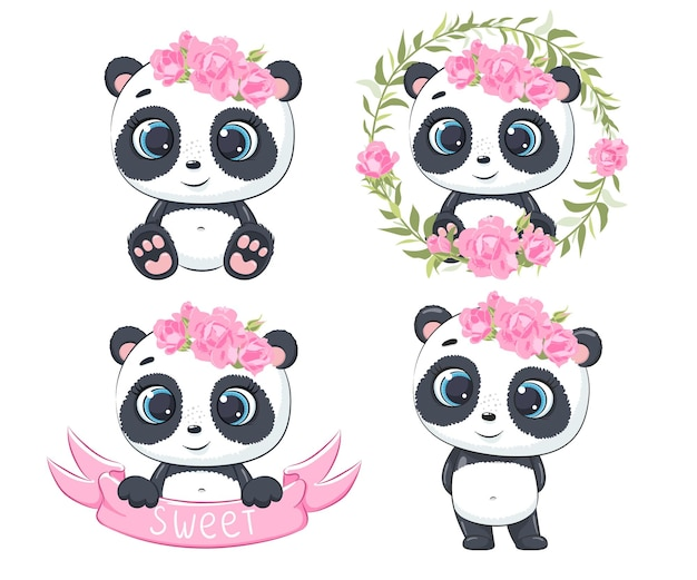 Eine reihe süßer und süßer pandas. vektorillustration einer karikatur.