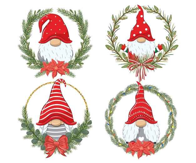 Eine reihe süßer zwerge für das neue jahr und für weihnachten. vektorillustration einer karikatur.