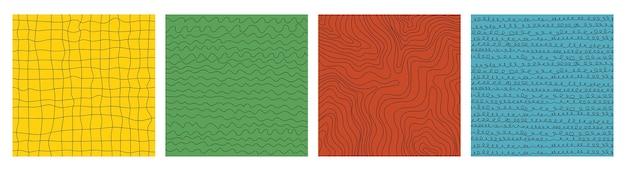 Eine reihe von abstrakten hintergründen mit linearen mustern