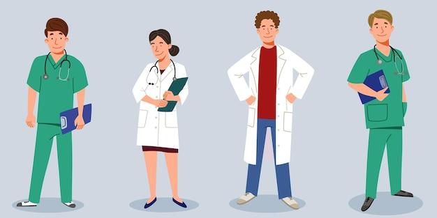 Eine reihe von ärzten. das medizinische personal ist ein arzt und eine krankenschwester, eine gruppe von ärzten.