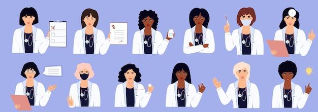 Eine reihe von ärztinnen in weißen kleidern mit verschiedenen medizinischen geräten. afroamerikanische und kaukasische frauen. krankenhauspersonal.