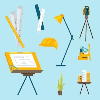 Eine reihe von arbeitswerkzeugen für den architekten