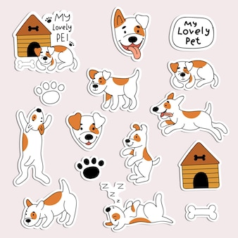 Eine reihe von aufklebern mit süßen hunden. haustiere, tiere, welpen. illustration im doodle-stil