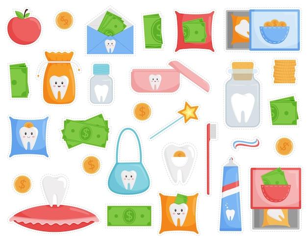 Eine reihe von aufklebern zum thema eines gefallenen zahns. der zahn ist in einer tasche, kisten, zapfen, gläsern.