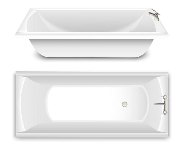Eine reihe von badewanne in form einer schüssel. draufsicht und seitenansicht.