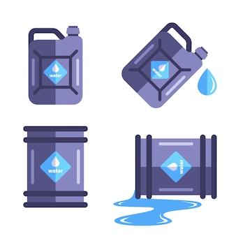 Eine reihe von behältern für eine reihe von wasser. verschütten sie wasser in das fass. flache illustration lokalisiert auf weißem hintergrund.