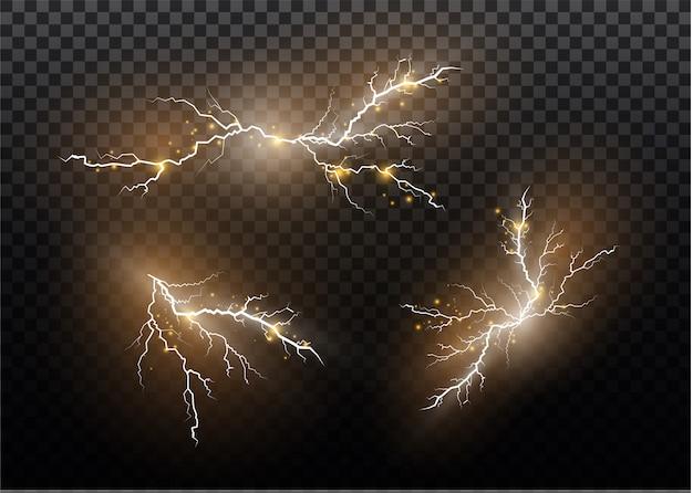 Eine reihe von blitzmagie und hellen lichteffekten. illustration. elektrischen strom entladen. ladestrom. naturphänomen. energieeffektillustration. helle lichtfackeln und funken