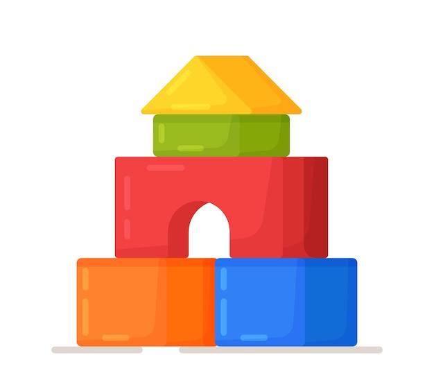 Eine reihe von blockschlössern. isolierte blockhaus-vektor-illustration. kinderfiguren zum bauen von burgen, häusern oder häuschen.